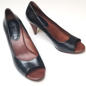 Banana Republic Black Leather Peep Toe Round Heels